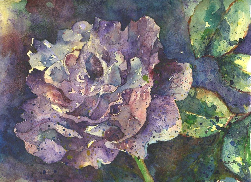 Original Watercolor Purple Rose Painting