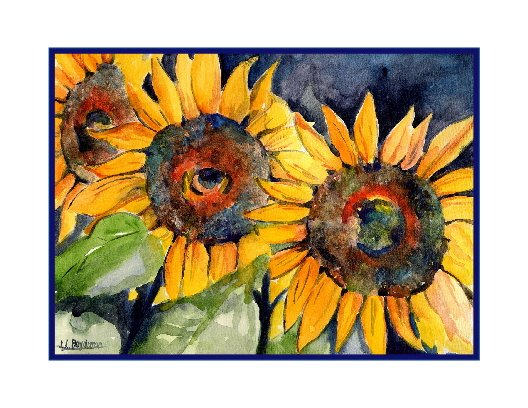 8 Watercolor Three Sunflower Note Cards Notecards