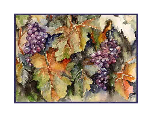 Watercolor Before Crush Grape Note Cards