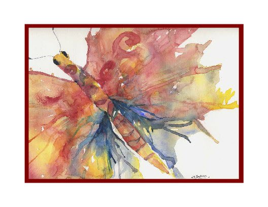 Watercolor Abstract Butterfly Note Cards