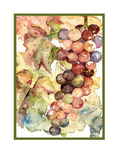 Heavenly Grapes Watercolor Cards