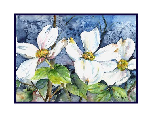 White Dogwood Watercolor Cards