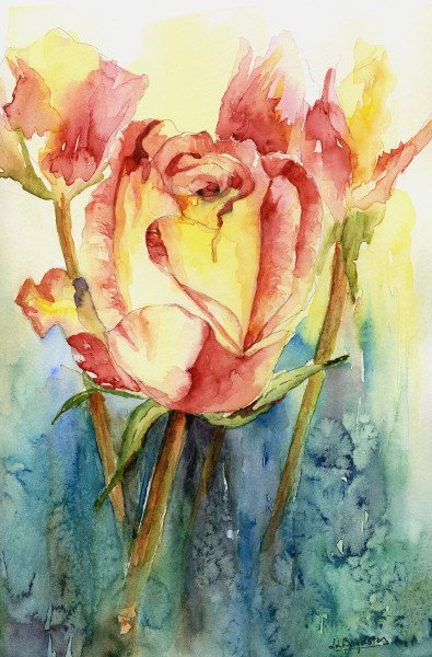 Giclee Yellow Red Roses Print, Watercolor