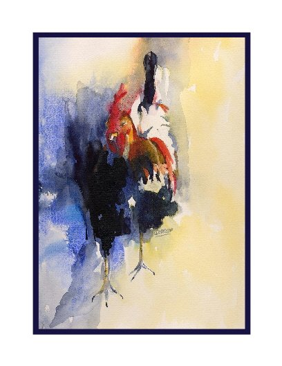 Abstract Rooster Watercolor Note Cards