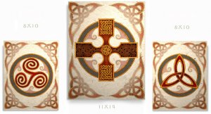 Celtic Symbol Art Prints Cross Spiral Triquetras