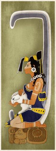Aztec Moon Goddess Art Poster Print Mayan