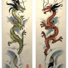 Oriental Asian Red and Green Dragon Art Poster Prints