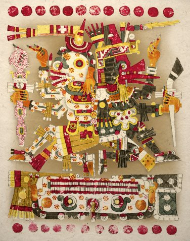 Aztec Art Print Ancient Gods Life And Death