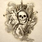 Skull With Crown Gothic Macabre Art Print Memento Mori