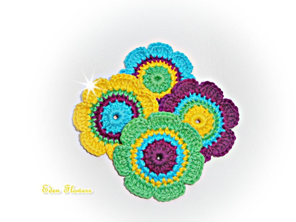 Crochet Flowers ref: X163(4 flowers)