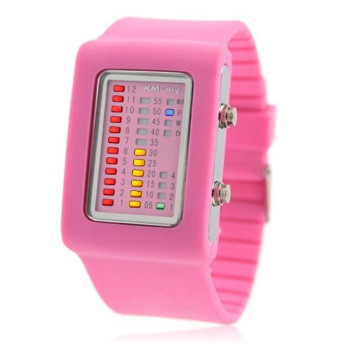 11 COLOR CHOICE - Womens Binary Silicon LED NEON Wrist Watch ( Pink )