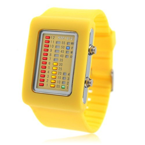 11 COLOR CHOICE - UNISEX Binary Silicon LED Wrist Watch ( Yellow ) FASHION MUST HAVE