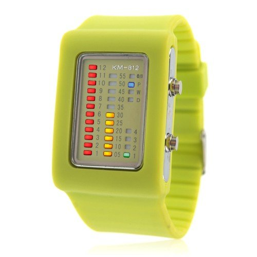 UNISEX Binary Silicon LED Wrist Watch ( GREEN ) FASHION MUST HAVE ( 11 COLOR CHOICE )
