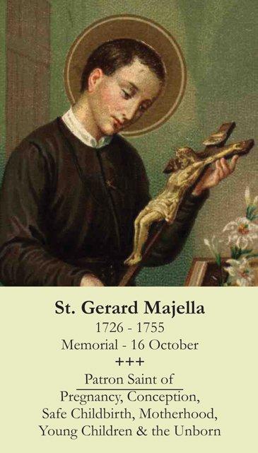 St. Gerard *Patron of Pregnancy/Motherhood* Holy Card PC#326