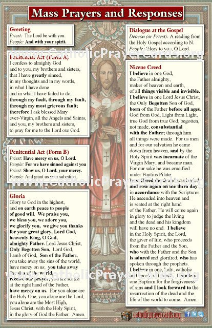 Large Print Mass Pew Cards With New Translations