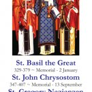 STS. BASIL THE GREAT, JOHN CHRYSOSTOM AND GREGORY NAZIANZEN HOLY CARD PC#63