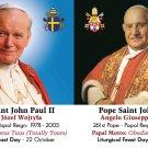 Special Limited Edition Commemorative Pope JPII & John XXIII Canonization Prayer Card