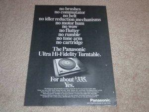 Panasonic Technics SP-10, 1st Ad! 1971,Article, Rare!
