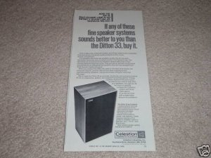 Celestion Ditton 33 Speaker Ad,full specs,Article,Nice!