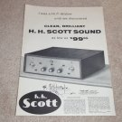 Scott 99 Amplifier Ad, 1956, Full Specs, Article, RARE!