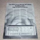 Sherwood HP 2000 Amplifier Ad, specs,features, RARE!