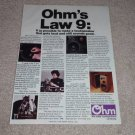 Ohm I Speaker Ad, RARE! Article,Omnidirectional