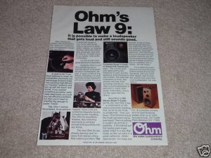 Ohm I Speaker Ad, RARE! Article,Omnidirectional