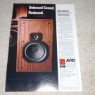 Avid 110 Speaker Ad, 1978, Article, Specs, Color,RARE!