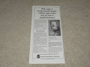 """RCA SK-46 Microphone Ad, 1964, Specs, 6""""x11"""" Article"""