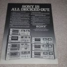 Sony Cassette Ad, 1978, Entire Line, Article, RARE!