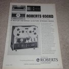 Roberts 650XD Open Reel Ad,1970,features,RARE!