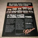 Teac Open Reel Ad from 1977,Entire line of 10 decks!
