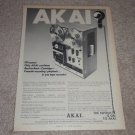 Akai Open Reel,8trk,Cass Machine Ad,RARE! 1972,Article