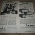 CROWN Multi Mode Amps,FM Tuner,Pre Ad from 1981 2 ads