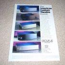 Acurus a250,200x3,a150,100x3,a80 Amplifier Ad 1996