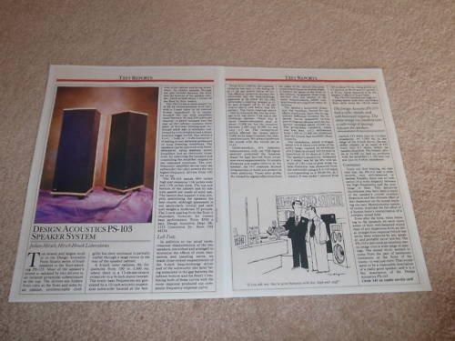 Design Acoustics PS-103 Speaker Review, 1987, Full Test