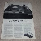 Sony PS 2251 Turntable Ad,1973, Article,specs, RARE!