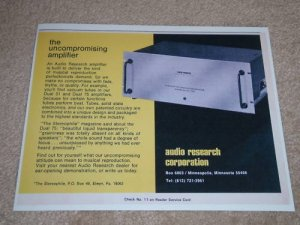 Audio Research Classic Ad,Dual 75 Tube Amp,Article,1973