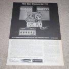 Sony Sterecorder 777 System Ad,1962,Nice! Specs, RARE!