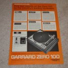 Garrard ZERO 100 Turntable Ad, 1972, Beautiful Ad!