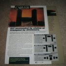 "Carver Cinema System Speakers Ad from 1998 11""x13"""