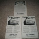 CROWN 3 ads,Amps,SA2,Power Line One from 1980