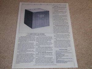Carver M-400t Amplifier Spec Sheet,1 pg,Specs,Info,1987