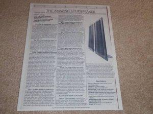 Carver Amazing Speaker Spec Sheet,1 pg,Specs,Info,1987