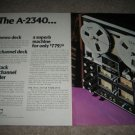 Teac A-2340 Reel to Reel Ad from 1975,2 pages,beautiful