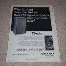 Onkyo Model 15 Scepter Speaker Ad, 1973, 1 pg, Article
