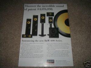 B&W 600 Series Ad from 1997, mint