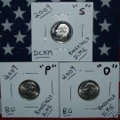 09 RARE  SATIN P/D & S PROOF ROOSEVELT DIMES 3-COIN SET