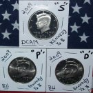 NEW-09 BU P/D & S PROOF KENNEDY HALF-DOLLARS 3-COIN SET