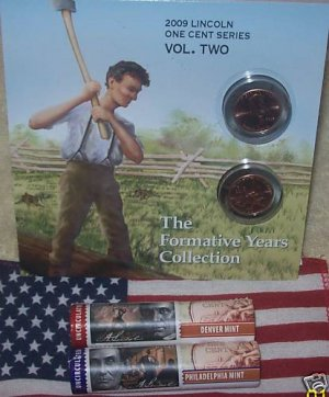 2-ROLLS 09 LINCOLN PENNY P&D LP2 FORMATIVE YRS+BOOKLET